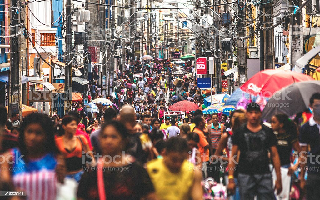 Crowded shopping street. Sao Luis, Brazil. stock photo