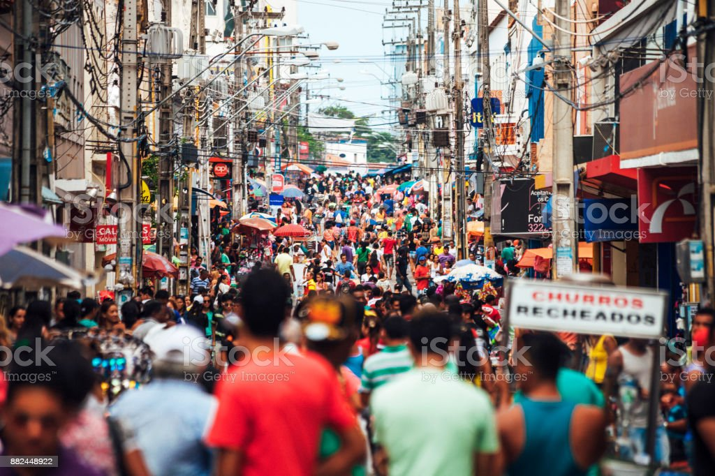 Crowded shopping street - Sao Luis, Brazil stock photo