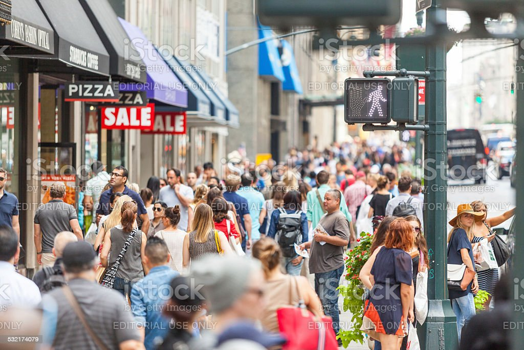Crowded sidewalk on 5th Avenue stock photo