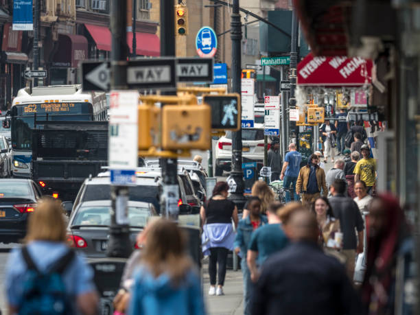Crowded Street In Greenpoint, Brooklyn, New York City stock photo