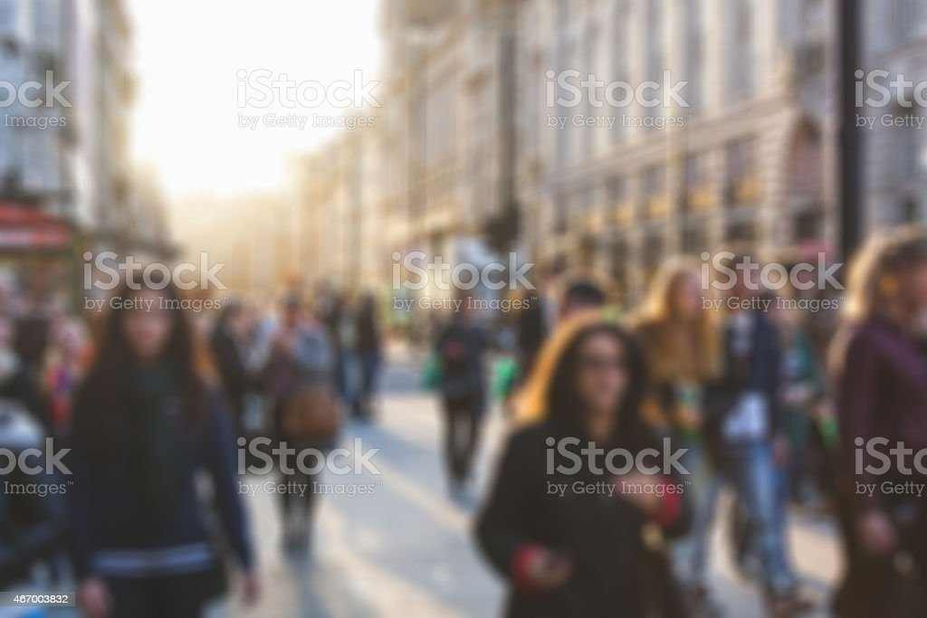Crowded street in London, blurred background