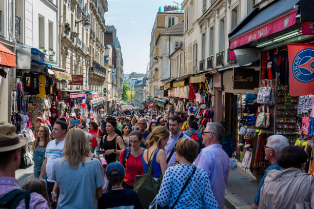 crowded street in Paris stock photo
