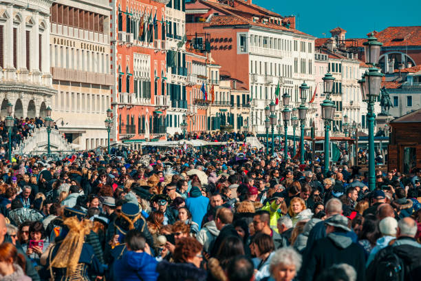 Crowded street in Venice, Italy. stock photo
