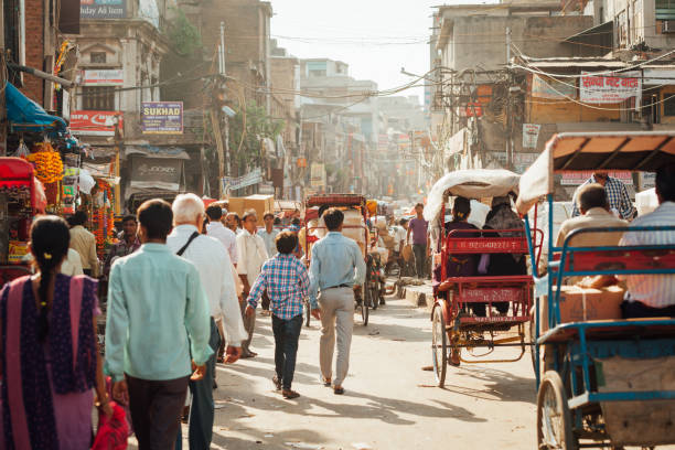 Crowded street of Old Delhi, India stock photo