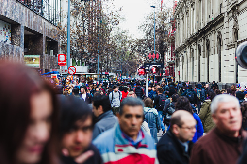 Santiago, Chile - September 08, 2017: a crowded street full of pedestrians in Santiago, Chile