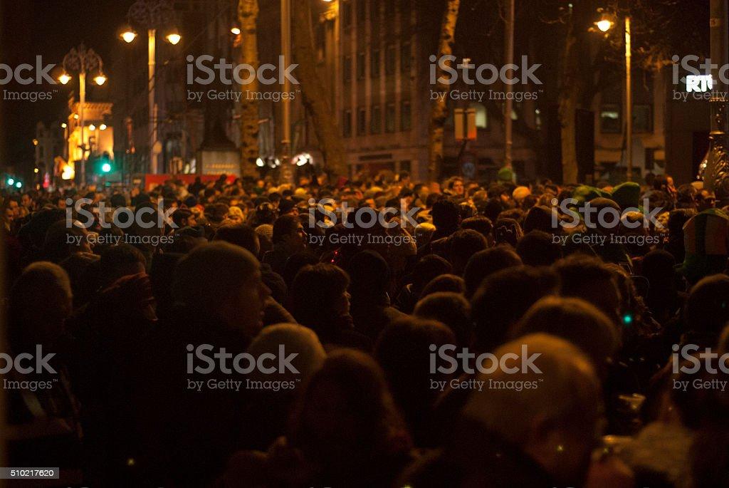 Crowded street stock photo