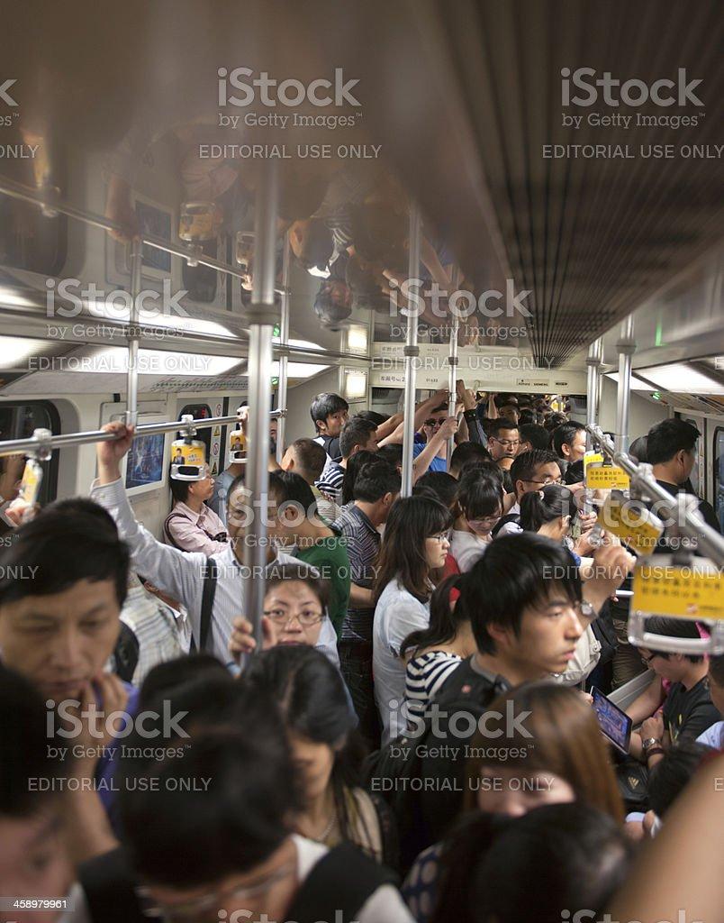 Crowded Subway, Shanghai, China royalty-free stock photo