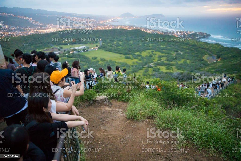 Crowded Summit Diamond Head Hike stock photo