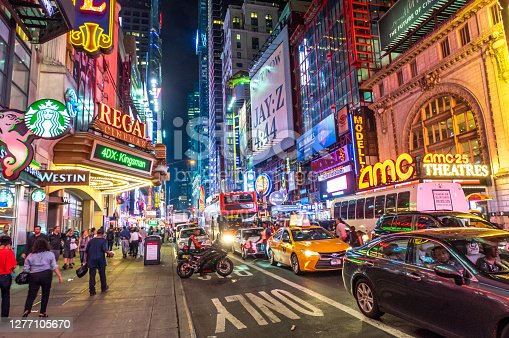 New York City, USA - October 8, 2017: Crowded Times Square at Twilight in New York City, USA.