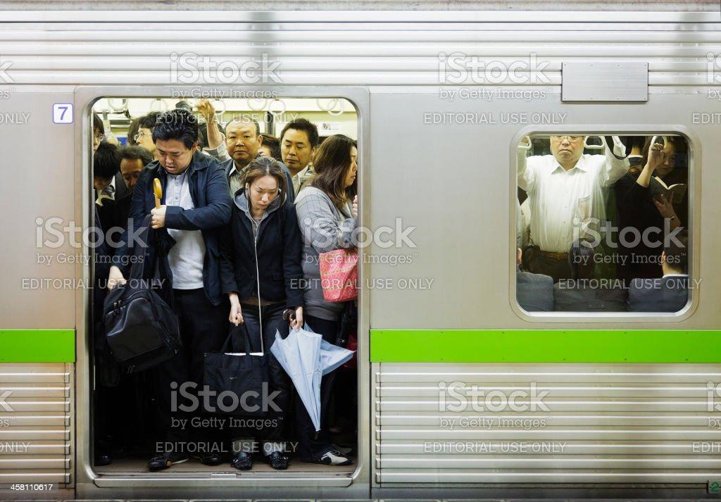Crowded Tokyo Subway stock photo