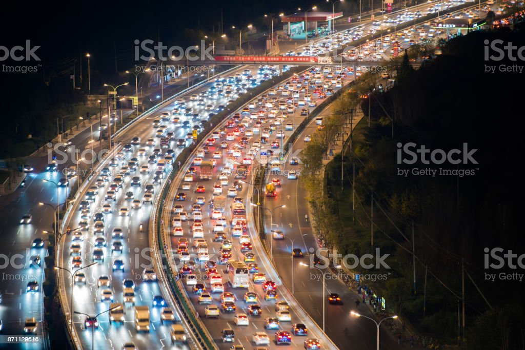 Überfüllten Verkehr in Peking – Foto