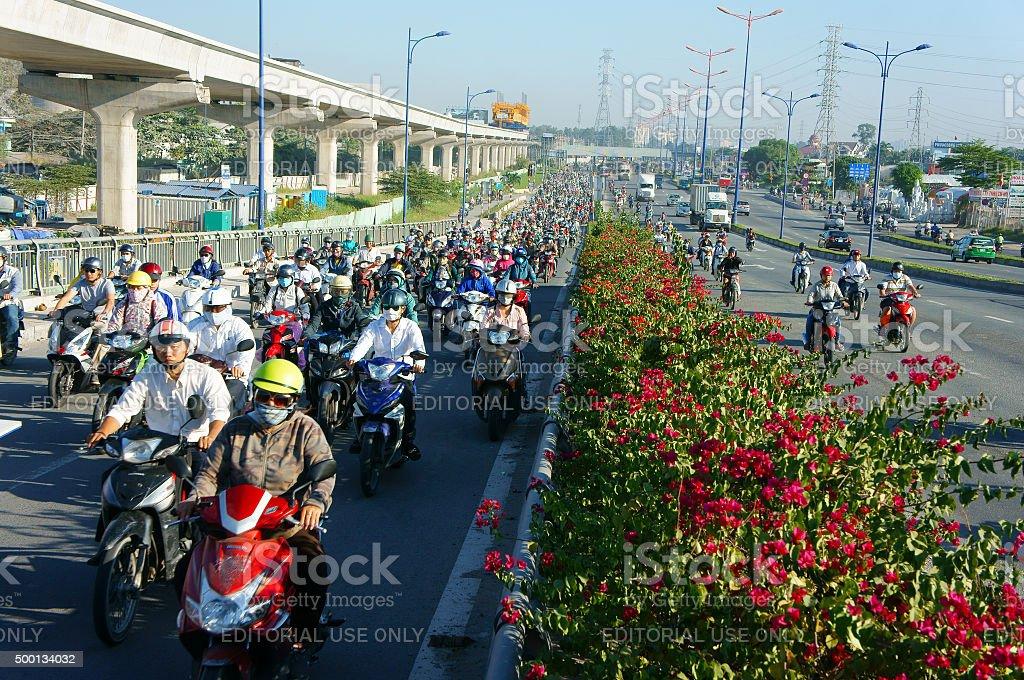 混雑、ベトナム、アジア ctiy 、自動車、排気ガス、 ロイヤリティフリーストックフォト
