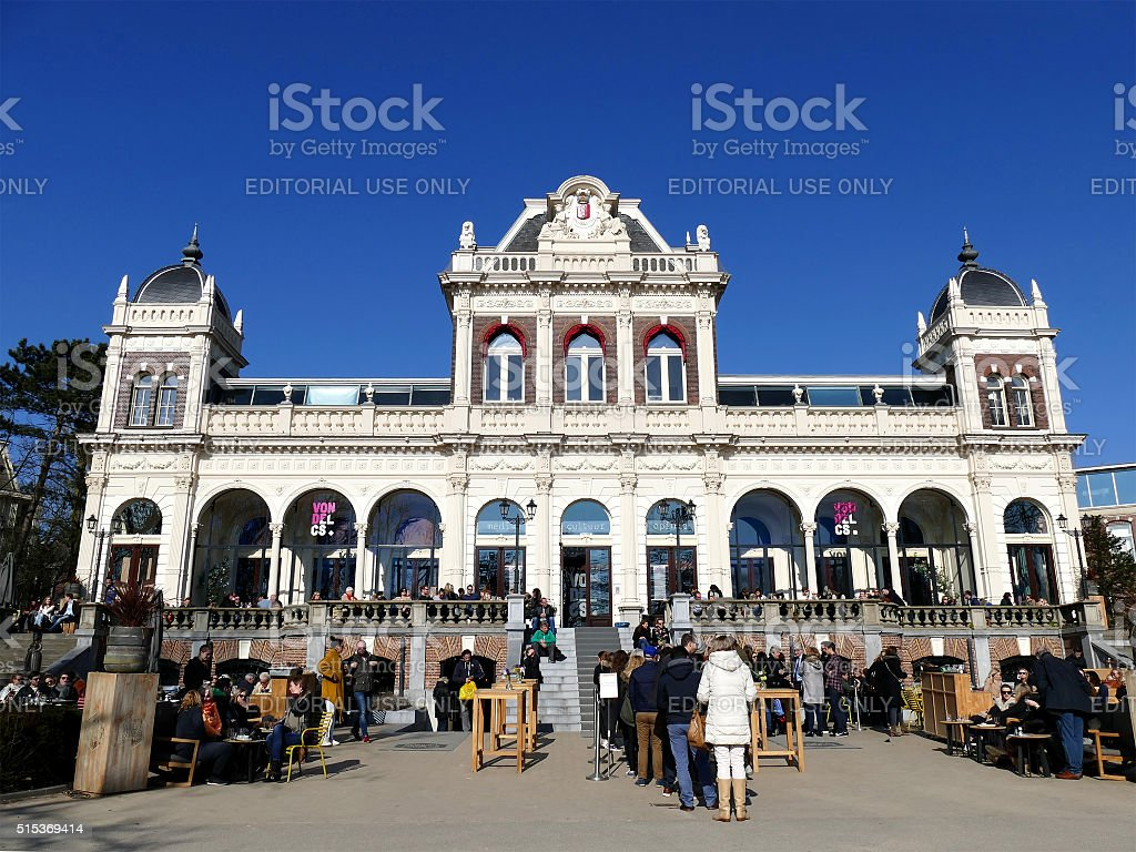 Amsterdam, The Netherlands - March 13, 2016: Crowded VondelCS Cafe stock photo