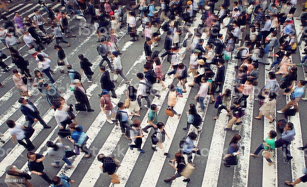Crowded zebra crossing stock photo