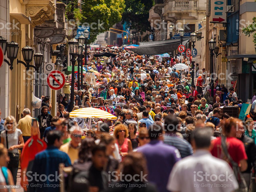Crowdes at the San Telmo Sunday street Market, Buenos Aires stock photo