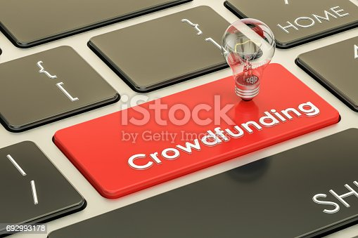 istock Crowdfunding concept on keyboard button. 3D rendering 692993178