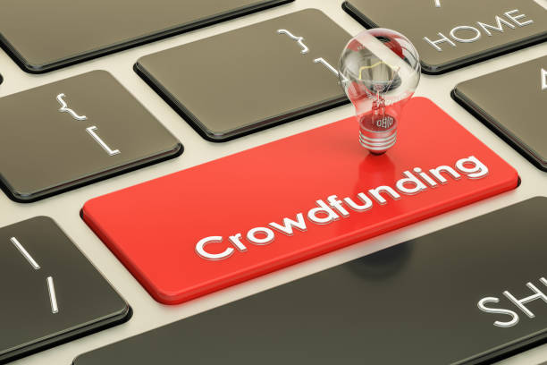Crowdfunding concept on keyboard button. 3D rendering stock photo