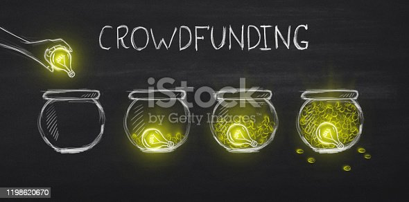 Creative ideas bring money. White crowdfunding lettering with four glass jars over black background, panorama