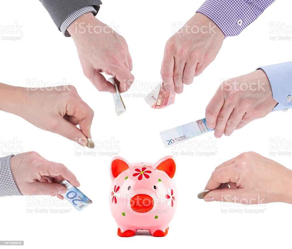 Crowdfunding Piggybank stock photo