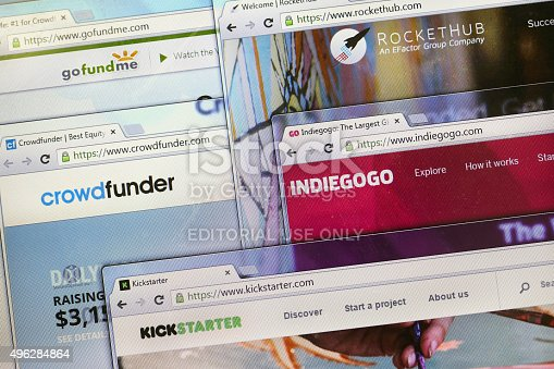 Novi Sad, Serbia - November 9, 2015: Websites (homepages) of five leading crowdfunding platforms in the world - Kickstarter, IndieGoGo, RocketHub, Crowdfunder and GoFundMe on a computer screen.