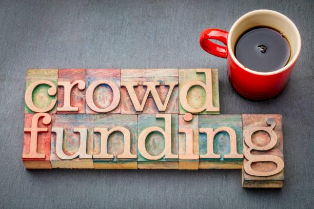 crowdfunding word in wood type stock photo