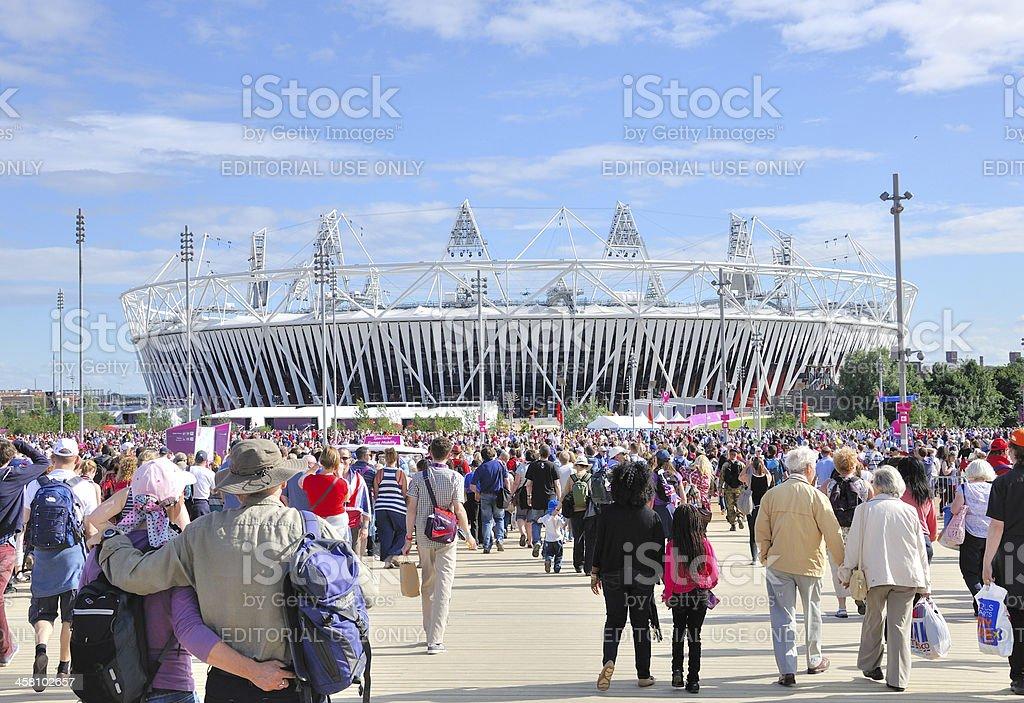 Crowds approach Olympic Stadium stock photo