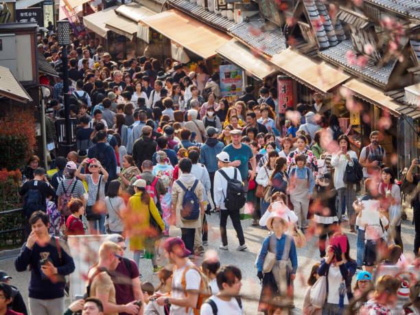 Crowds around Higashiyama district, Kyoto, Japan stock photo