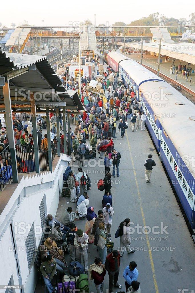 Crowds at Delhi train station royalty-free stock photo