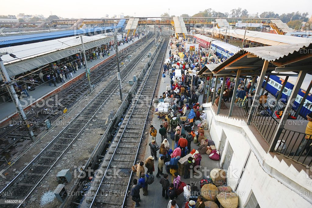 Crowds at Delhi train station royalty-free stock photo