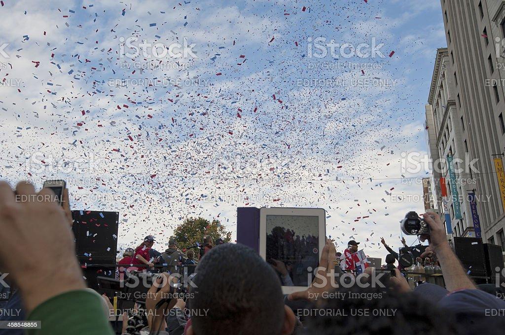 Multitud en desfile de Red Sox-Serie campeonato mundial de 2013 - foto de stock