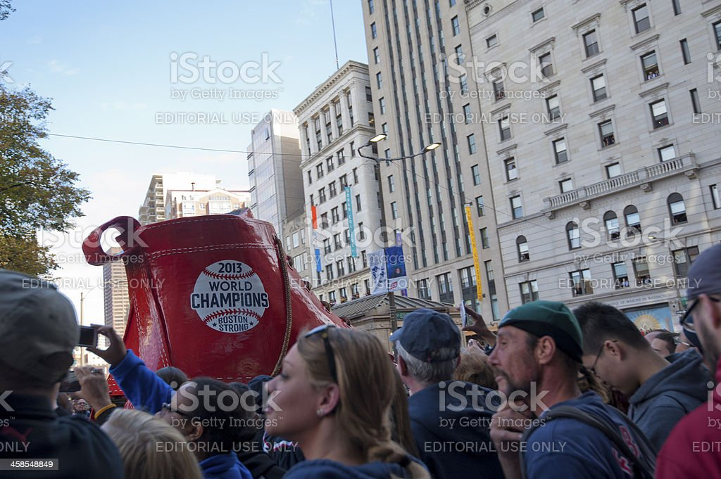 Crowds  at parade of Red Sox champ-world series 2013 stock photo