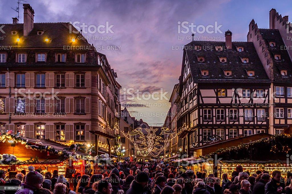 Crowds at Strasbourg Christmas Market stock photo