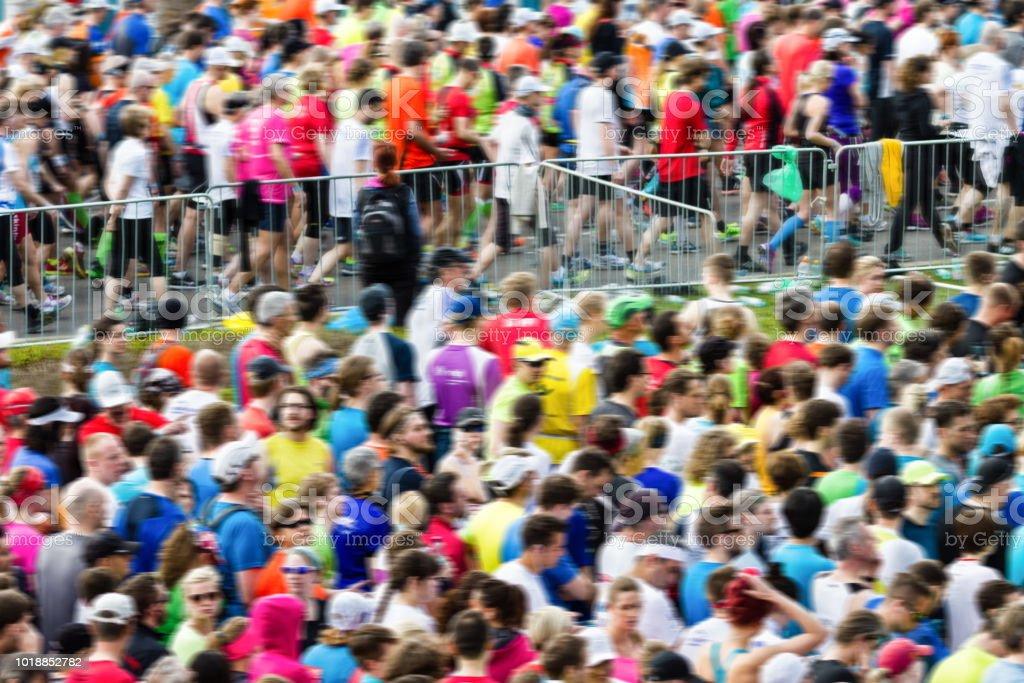Crowds at the marathon at start finish zone.