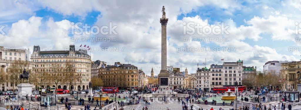 Crowds at Trafalgar Square stock photo
