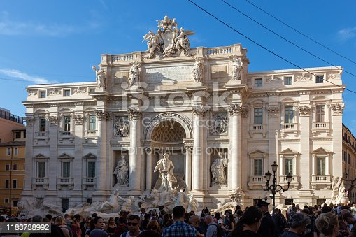 Rome, Italy, - October 22nd, 2019: Trevi Fountain at Piazza di Trevi is extremely popular with tourists and is always crowded.
