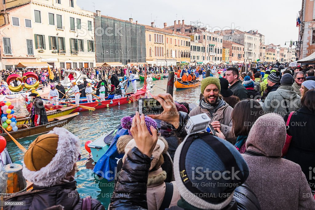 Crowds enjoy the Venetian Festival on the Water in Cannaregio stock photo