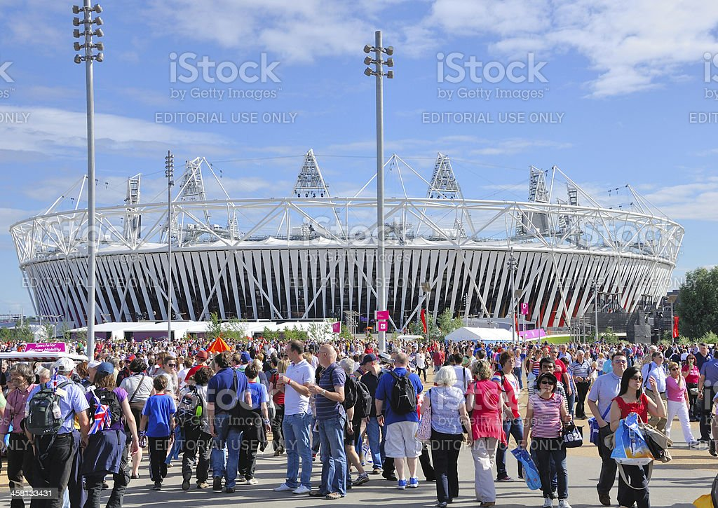 Crowds head for Olympic Stadium at London 2012 stock photo