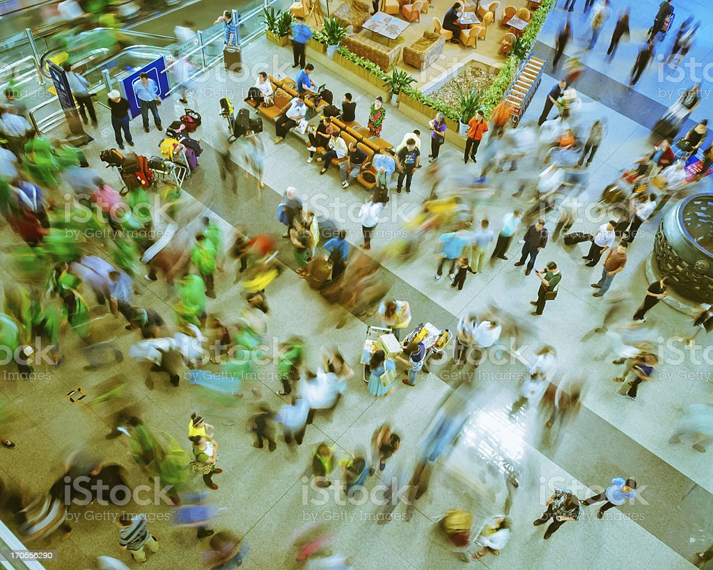 crowds in the airport hall royalty-free stock photo