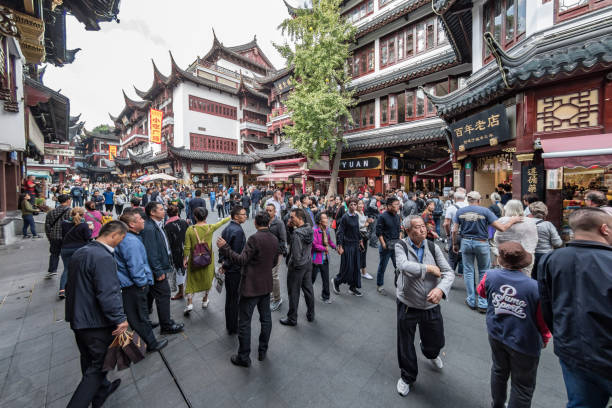 Crowds in the shops in the Yu Garden area of Old City Shanghai stock photo