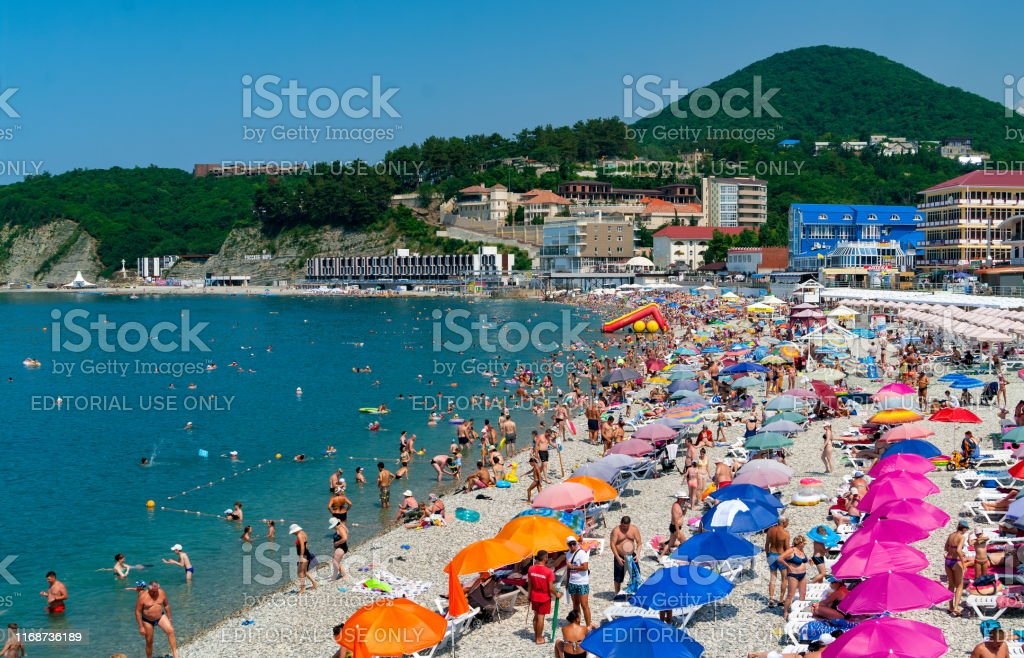 Crowds Of Bathers On The Beach At Black Sea Olginka Krasnodar Krai Russia Stock Photo Download Image Now Istock