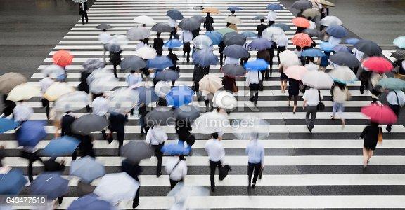 Tokyo Crosswalk Scene on Rainy Morning from above