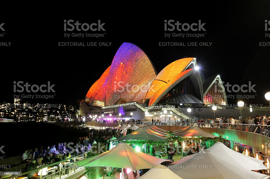 Crowds of locals and tourists enjoy Sydney Opera House Vivid Sydney stock photo