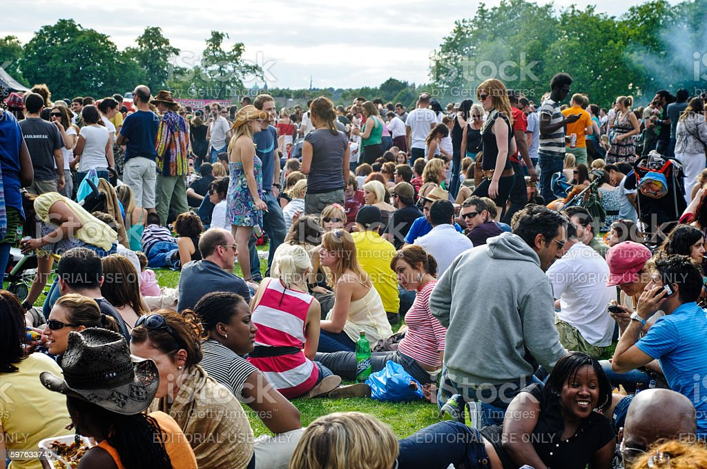 Crowds of people at Rise Festival, London, 2008 stock photo