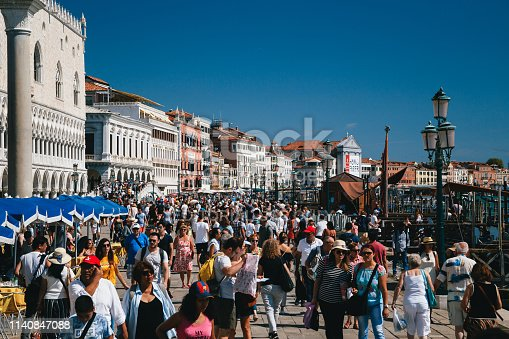 VENICE, ITALY - SEPTEMBER, 9 2018: Crowds of people at street near to St. Mark's Square, Piazza San Marco, Doge's Palace and on Ponte della Paglia bridge. Italy, travel concept.