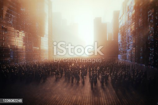 Crowds of people in futuristic city. This is entirely 3D generated image.
