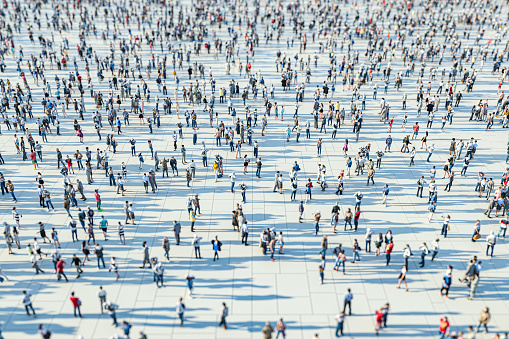 Crowds of people, 3D generated image.