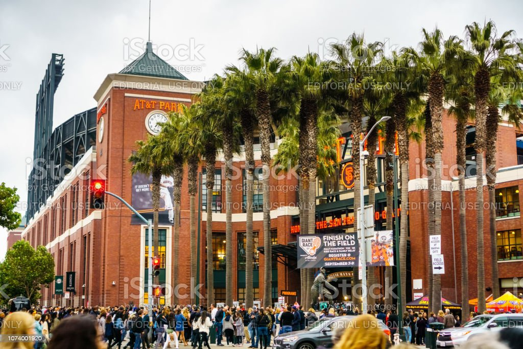 Crowds of people waiting to go inside AT&T Park stock photo