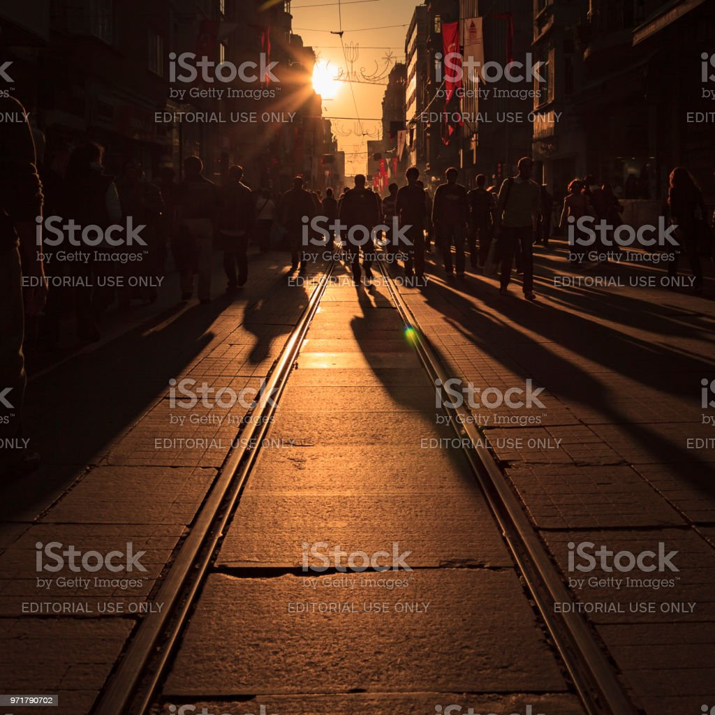 Crowds of shoppers on Istiklal Avenue in Istanbul, Turkey stock photo