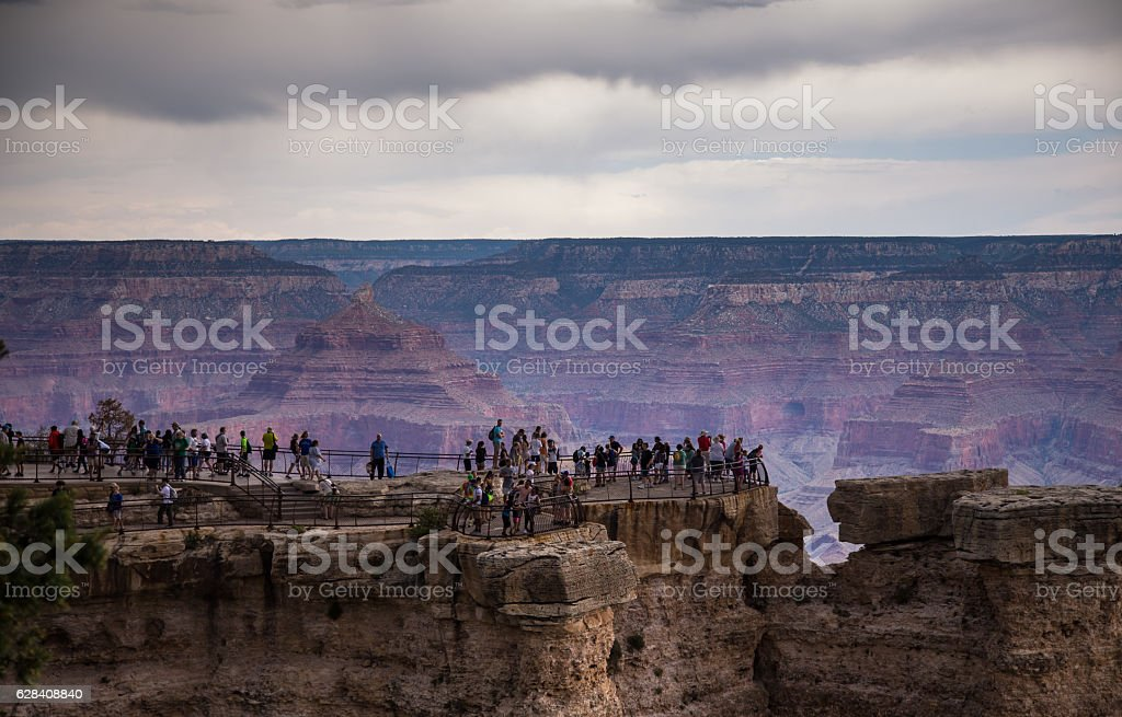 Crowds of Sightseers at the Grand Canyon stock photo