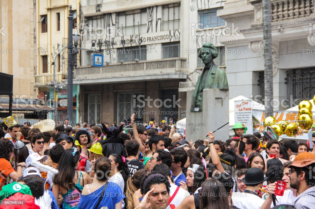 Crowds of students in the streets stock photo